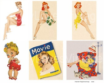 Sexy Ladies 1 Digital Collage from Vintage Greeting Cards - Instant Download -  Cut Outs