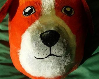 paper mache dog head