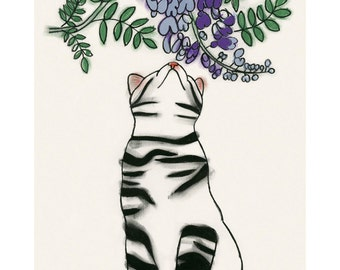 "Cat Art print. Spring Blossoms -  - 8.3"" X 11.8"" - 4 for 3 Sale"