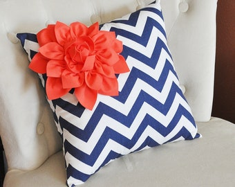 Coral Corner Dahlia on Navy and White Zigzag Pillow 14 X 14 -Chevron Flower Pillow- Zig Zag Pillows