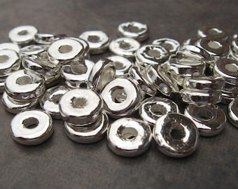 Greek Ceramic Beads 20 Silver Metalized 8mm Round Washer - Disk  Beads