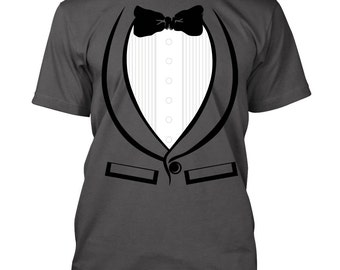 Tuxedo print T-shirt Bachelor party Vegas groom funny Tee Shirts S-3XL