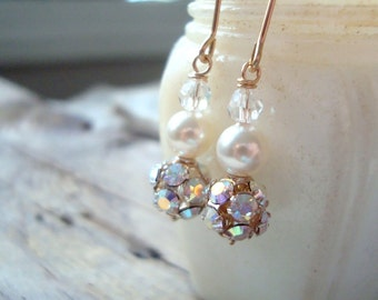 Rhinestone, Pearl and Crystal Earrings Bridal Jewelry Wedding Jewelry June Birthstone Gifts Under 40 Weddings Holiday Jewelry