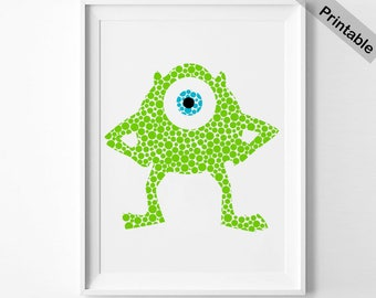 Mike print Monsters Inc. print Mike Wazowski printable Monsters University instant download Pointillism art Impressionism nursery (066)