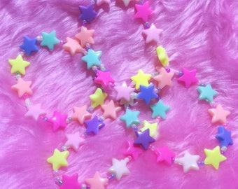 Fairy Kei Rainbow Stars Stretchy Bracelet