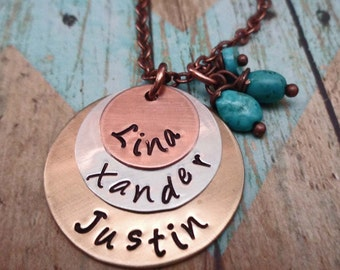 Rustic Mom Mother's Day Necklace - Personalized Names Necklace - Mommy Custom Names - Turquoise Southwest Rustic Copper - S242