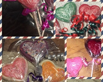 Heart shape chocolate lollipops