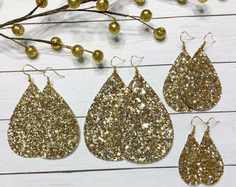 Show Stopper Glitter Faux Leather Earrings - Gold