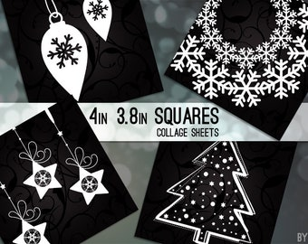 """Christmas Black White 3.8"""" and 4 x 4 Inch Square Digital Collage Sheet Image Printable Scrapbooking Cards Coasters Gift Tags JPG"""