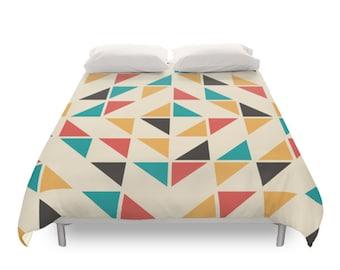 Mid Century Geometric Duvet Cover, Minimal Design, Vintage Decor, Retro  Bedding, Geometric