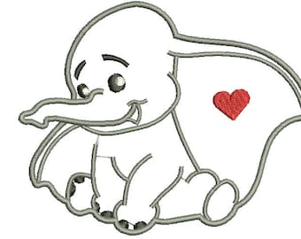 Baby Elephant Applique Embroidery Design, Cute Elephant Machine Embroidery