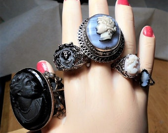 1 Large Sterling Cameo RING Vintage 30's Celluloid Cameo on Ornate Thick Lattice Sterling Blue-Grey Banded Jasper Ring, , Art Deco, Size 8+
