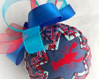 Lobster beach fabric quilted ornament