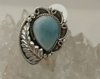 Abstract Larimar Ring Size 9 1/2
