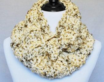Brown, Cream Crochet Infinity Scarf, Chunky Cowl, Neutral Neck Warmer  - Moss Stitch, Tan, Beige, Multi