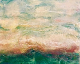 "Encaustic Art 16""x16"" Blue Green Textured Abstract Seascape Wax Painting on 1.5"" wood panel"