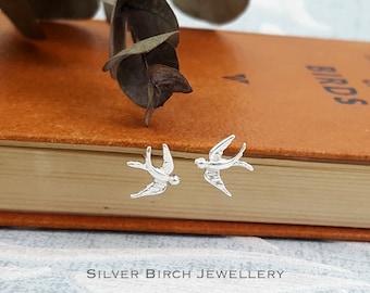 Silver Swallow Stud Earrings