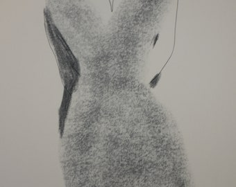 Figure, silouette, original drawning, charcoal and ink