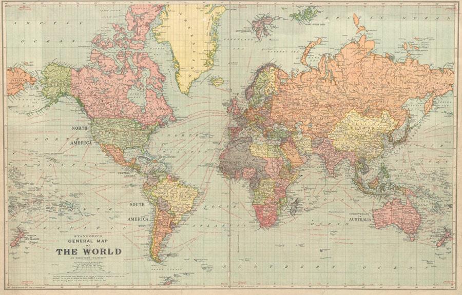 World map printable digital download 1922 Vintage World Map