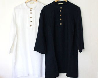 Linen tunic-shirt.Organic Tunic.Half buttoned/side pockets/ womens linen blouse/ plus size tunic/black tunic/designed and made by Anberlinen
