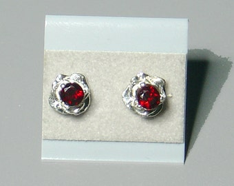 Silver Roses with Garnets Ear Studs - Best Seller