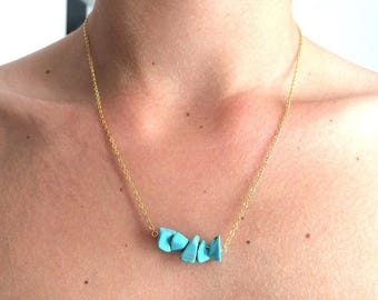 Necklace plated gold and turquoise