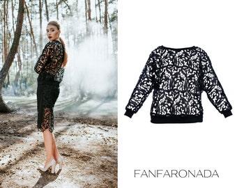 Lace blouse, lace top, romantic blouse, see-through blouse, lace sweatshirt, textured lace blouse