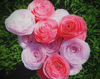 Handmade Coffee Filter Flower Bouquet - One Dozen Hand-Dyed Pale and Dark Pink Coffee Filter Roses - Handmade Paper Flower Bouquet