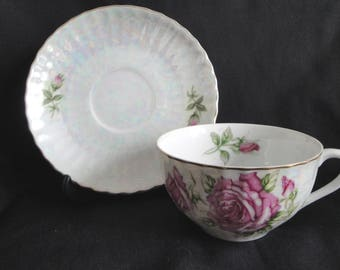 Lusterware Tea Cup & Saucer Japan Vintage from Canada Iridescent Roses