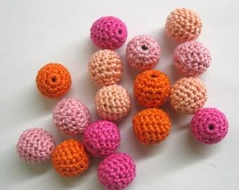 Crocheted beads 16 mm - round handmade beads, pink and orange mix, 16 pc