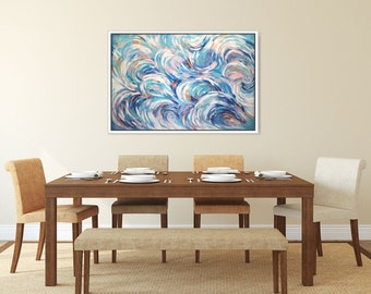 Abstract Painting Original Artwork On Canvas/ Teal Blue abstract Art/ XL Acrylic Painting/ Office/Dining Room Abstract Wall Art -Christovart