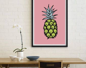 Pineapple print, illustration, digital art, colourful print, wall décor