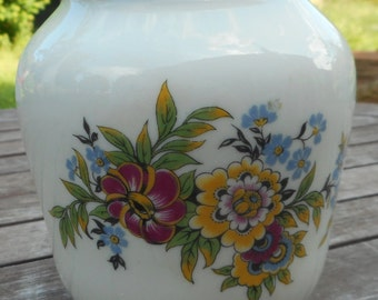 French vintage faience flower bouquet vase
