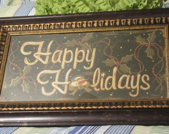 Wall Art Happy Holidays Picture Vintage Beautiful Frame Unique Frame Holiday Decor Christmas Decor Gift Home Decor Country Decor Snowman