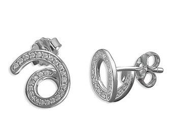 Cubic Zirconia Swirl Behind The Ear Sterling Silver Stud Earring