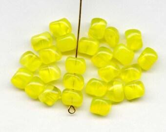 Unusual Yellow Givre Beads, W German Beads (18)