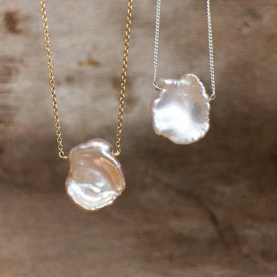 Keshi Pearl Necklace: June Birthstone Petal Pearl Necklace Keshi Pearl Necklace