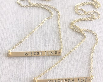 Hand-Stamped Personalized Name Date or Word Gold Bar Necklace