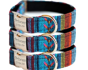 Personalized Southwestern Dog Collar - Woven Engraved Dog Collar - Woven Osage(Shown with optional Engraving)