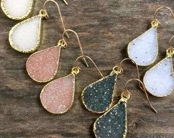 Druzy Earrings, Druzy Quartz Jewelry, Gemstone Earrings, Gold Earrings, Silver Earrings, Wedding Earrings, Bridesmaid Jewelry, Raw Stone Ear