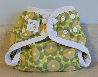 Preemie Newborn PUL Diaper Cover with Leg Gussets- 4 to 9 pounds- Green Geo Flowers- 20006