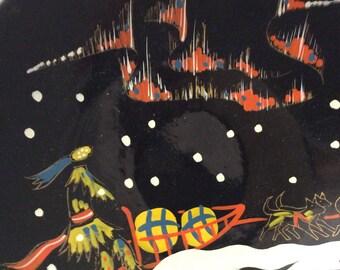 Alaska Inuit Mid Century Aurora Borealis Eskimo art plate souvenir 50s 60s collectible