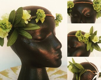 Green and Yellow Carnation Inspired Flower Crown (Adult)