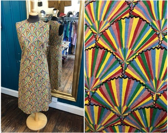 "B40"" 1960s Fan Starburst Print Dress Psychedelic Large UK14"