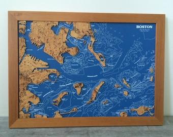 Unique Vintage Map of Boston - Cork Map - Wood Frame - Circa 1980s - Unique Geography - Massachusetts Chart