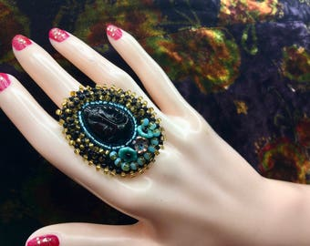 large embroidered ring beads and cabochon