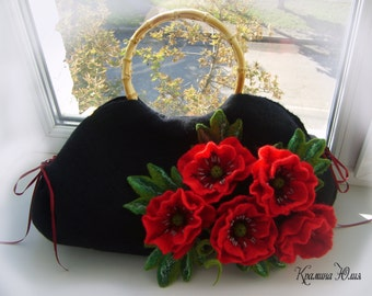 valentine's gift Felted wool bag-Felted wool purse- Red poppies-Felted purse-Felt bag-Wet felted bags-flower bag-black-red