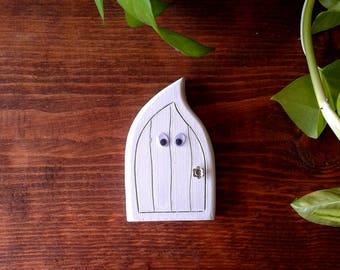 Halloween Ghost Fairy Door | Handmade Solid Wood Fairy Door | Unique Gift | Pretend Play