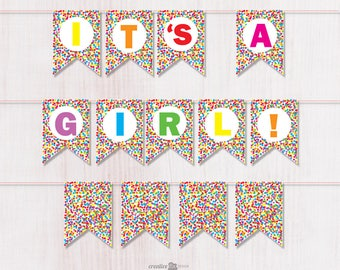 Baby Girl PRINTABLE Banner. Confetti bunting. Colorful Baby banner Confetti party decor Confetti baby girl bunting printable confetti flags