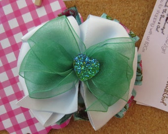 Stacked Blue rosette hair bow